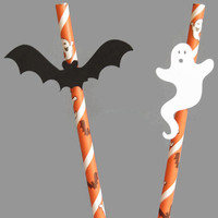 10 Ghost and Bat Party Straws - Halloween Party Decorations