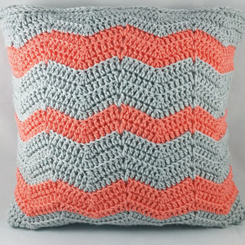 Peach and Gray Pillow Case - Crochet Pillow Case - Pillow Cover - Peach Pillow - Gray Pillow - Throw Pillow - Decorative Pillow