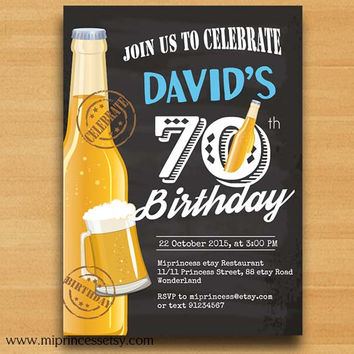 Beer Birthday Invitation Beer Party Invitation any age 30th 40th 50th 60th 70th 80th 90th retro man beer party invitation - card 504