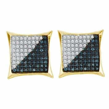 10kt Yellow Gold Mens Round Blue Color Enhanced Diamond Square Kite Cluster Earrings 1-3 Cttw - FREE Shipping (US/CAN)