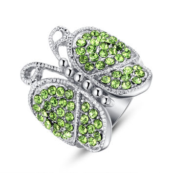 Stainless Steel Green Crystal Studded Butterfly Ring