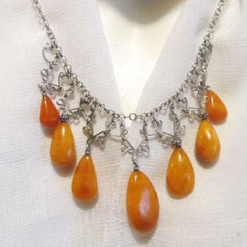 100% Natural #Antique #Baltic #Amber #Necklace, 19.3 grams #yellow egg yolk butterscoych  polished  opaque 7 beads  for adult