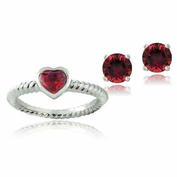 Silver Tone 1.75ct Created Ruby Heart Ring & Stud Earrings Set