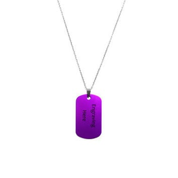 Engraved Dog Tag Necklace, Personalized Name, Date, Custom Engraving Jewelry, Purple Dog Tag on Stainless Steel Chain, Gift For Him