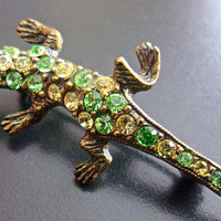 Green Yellow Rhinestone Lizard Pin-Brooch, Petite Gecko, Vintage