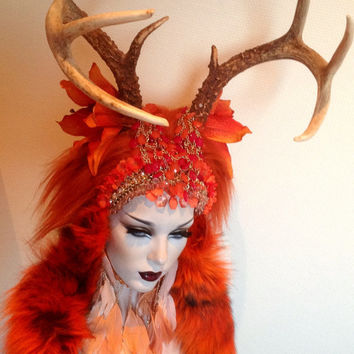 READY TO SHIP Orange Antler goddess fae fairy nymph headdress Futuristic Fantasy headdress headpeice wig