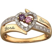 10K Gold-Plated Sterling Silver Couple's Birthstone Heart Ring with CZ Accents by ArtCarved® (2 Stones, 2 Names)