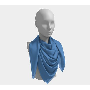 Solid Square Scarf - Blue