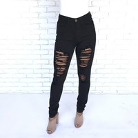 Ellyson Destroyed High Rise Skinny Jeans