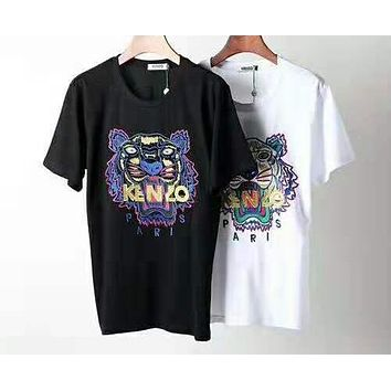 Kenzo 2019 new men and women classic tiger head letter embroidery round neck T-shirt