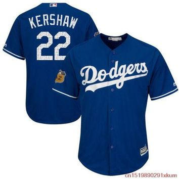 PEAPFS2 MLB Men's Los Angeles Dodgers Clayton Kershaw  best#22 Baseball Royal 2017 Spring Training Cool Base Player Jersey
