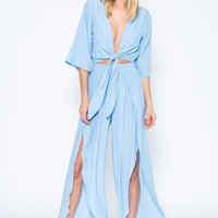 Crystal Blue Front Tied Jumpsuit