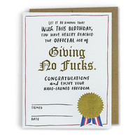 Giving No F*cks Birthday Card with Gold Foil Seal