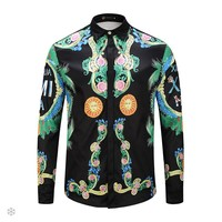 Versace 2018 new fashion men's casual long-sleeved shirt