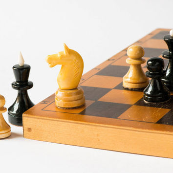 Vintage chess set wooden chess sandy black chess piece with chessboard USSR