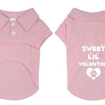 Sweet Lil Valentine Dog Polo T-Shirt for Valentine's Day. Puppy Dog Shirt. Cute Dog Qu