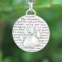 Paw Necklace (Rescue quote), Sterling Silver, Rhodium Sterling Silver Chain Included. (Chain Length Option)