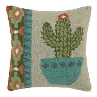 Single Cactus Blue Vase Pillow