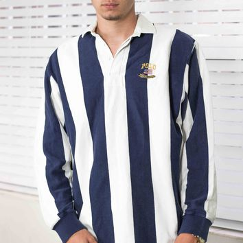 Vintage Polo Ralph Lauren Logo Striped Rugby Shirt 90s