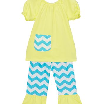Yellow & Blue Chevron Capri & Top Set