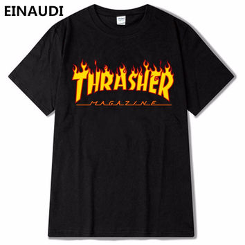 EINAUDI thrasher T Shirt Men Women Skateboards tee Short Sleeve Skate T shirts Tops Hip Hop T shirt Homme Man Trasher T shirts