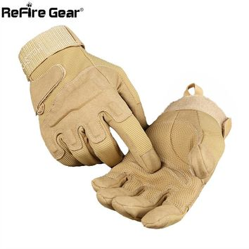 ReFire Gear Army Combat Tactical Gloves Men Military Police Soldiers Paintball Full Finger Gloves Male SWAT Fight Shoot Mittens