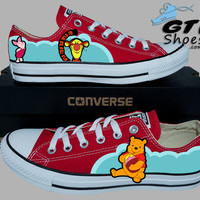 Hand painted Converse Lo. Winnie the pooh, Tigger, And Piglet. Handpainted shoes.