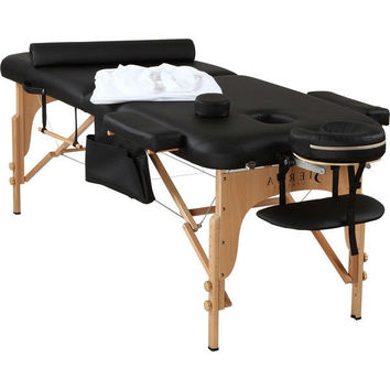 Black Portable Massage Table Set with Headrest Cotton Fitted Sheets and Carry Case