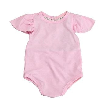 32f2643987e7 Baby Girl Clothes Romper Ruffles Sleeves Pink Red Color Newborn