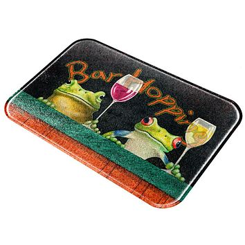 Bar Hopping Frogs Funny Wine All Over Glass Cutting Board