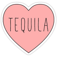 'I Love Tequila Heart' Sticker by thepinecones