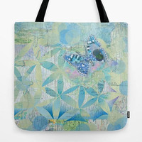 Blue Butterfly Tote Bag, blue and green floral tote,  beautiful, mom, gift, great carryall bag