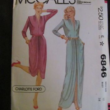 Uncut 1970's McCall's Sewing Pattern, 6846! Size 12, Misses/Women's, Long & Short Shawl Style Dress, Loose Fitting, Caftan Style