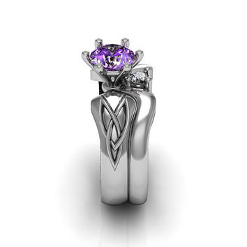 Sterling Silver Amethyst Celtic Knot  Love and Friendship Engagement and Promise Solitaire Ring Set