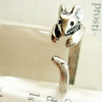 Antique Silver Adjustable Rat Animal Ring R56
