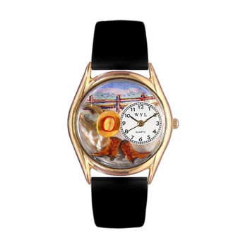Whimsical Watches Healthcare Nurse Gift Accessories Ranch Black Leather And Goldtone Watch