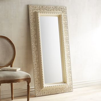 Ivory Embossed Floor Mirror