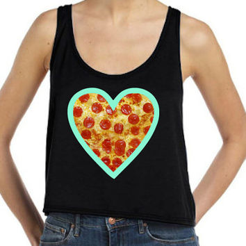 Pizza Mint Heart Flowy Tank
