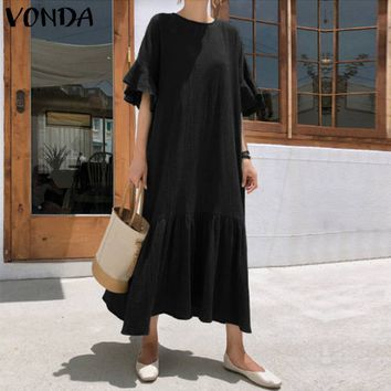 2019 Women Summer Party Dress Sexy Ruffle Short Sleeve Solid Rayon Dresses VONDA Casual Loose Plus Size Long Maxi Vestidos