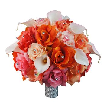 Large Elegant bridal bouquet-peach,coral,pink,orange rose calla lily bouquet