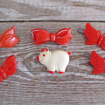 6 vintage hair barrettes 1950s pig butterfly by KatyBitsandPieces