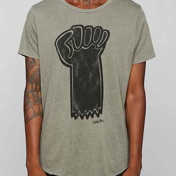 Junk Food Keith Haring Fist Raw Curved Hem Tee- Olive