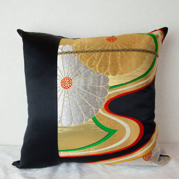 Japanese Decorative Throw Pillow; Decorative Throw Pillow; wedding gift; OOAK Decorative Throw Pillow; cushion; couch pillow; Accent Pillow