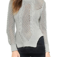 Gray Asymmetric Hem Lattice Knit Jumper