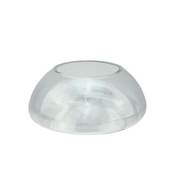 """9"""" Transparent Glass Pillar Candle Holder with Concave Interior"""