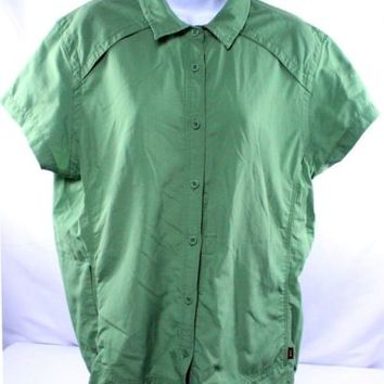 REI Women's UPF 30+ Hiking Shirt Green Vented Short Sleeve Button Down Front XL