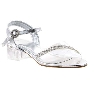 Girls Rhinestone Block Heel Sandals Silver