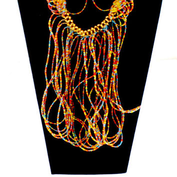 multi color beaded dangle necklace made in Ghana fair trade African jewelry necklace and bracelet set perfect gift for her graduation