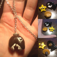 SPRING CLEARANCE! Misc. Gamer Themed Accessories - Chomp Chain Necklace, Star Man/Bullet Bill/Dome Fossil Pins