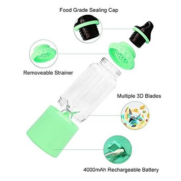 Portable Blender 500mL ThinSGO USB Juicer Cup, Fruit Mixing Machine, Personal Size Electric Rechargeable Mixer, Shakes Smoothies Blender with USB Charger Cable (Green)